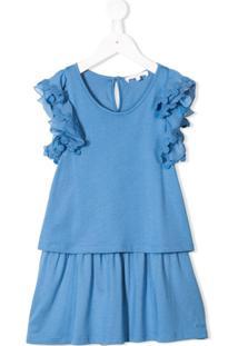 Chloé Kids Vestido Com Babado - Azul