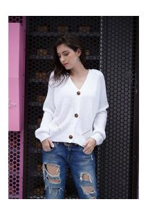 Suéter De Lã Vallery Com Gola V Feminino - Branco