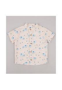 Camisa Infantil Listrada Com Bolso Manga Curta Gola Padre Off White