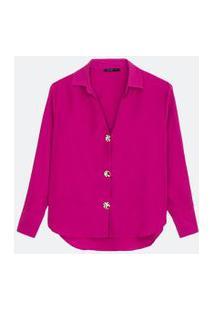 Camisa Manga Longa Com Botões Contrastantes | Cortelle | Rosa Forte | Gg