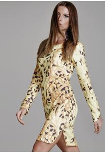 Vestido Curto Crepe Manga Longa Trellis Fendas Laterais-P