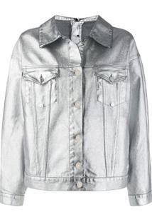 Msgm Jaqueta Jeans Metalizada - Prateado