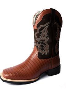 Bota Texana Country Cano Longo Bico Quadrado Casco De Tatu Pisa Forte