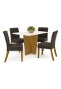 Sala De Jantar Mesa Retangular Vértice 120Cm Com 4 Cadeiras Maris Nature/Off White/Marrom - Henn