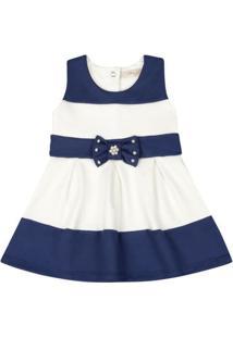Vestido Infantil - Lacinho Azul - Listrado Azul E Branco - Livy Malhas - P