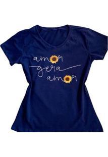 Camiseta Amor Gera Amor Feminina - Feminino-Azul
