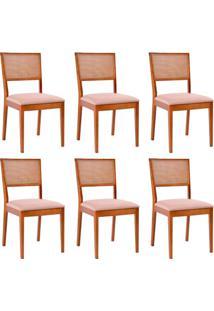 Conjunto Com 6 Cadeiras Kindon Ii Tela Castanho E Bege