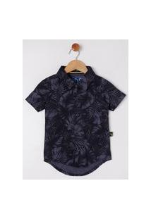 Camisa Manga Curta Infantil Para Menino - Azul Marinho