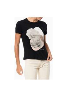 Camiseta Estampa Localizada Floral Preto Calvin Klein
