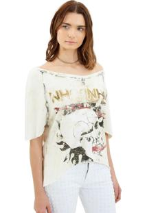 Camiseta John John Open Skull Off White Malha Feminina (Off White, Pp)