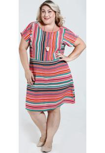 c44cc37991 Marisa. Vestido Feminino Listrado Plus Size Marisa. R  89 ...