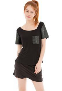 Camiseta Gola Assimétrica 41Onze Preta - Tricae
