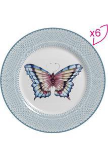 Conjunto De Pratos Para Sobremesa Borboleta- Off White &Scalla Cerâmica