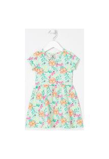 Vestido Infantil Estampa Floral Tropical - Tam 1 A 5 Anos | Póim (1 A 5 Anos) | Azul | 04