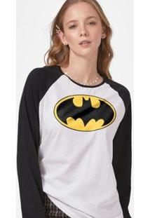Camiseta Manga Longa Feminina Batman Logo Clássico - Feminino-Branco+Preto