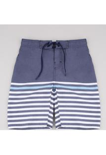 Bermuda Surf Infantil Com Listras Azul