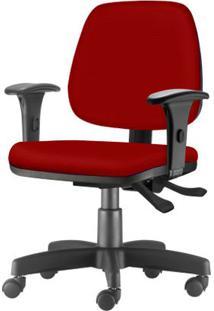 Cadeira Job Com Bracos Assento Courino Vermelho Base Rodizio Metalico Preto - 54599 Sun House