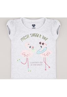 Blusa Infantil Flamingos Manga Curta Cinza Mescla Claro