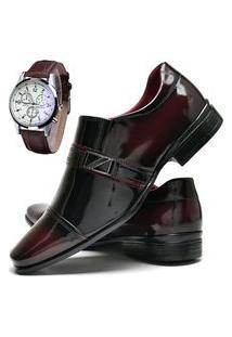 Sapato Social Masculino Com E Sem Verniz Db Now Com Relógio Dubuy 820Od Vinho