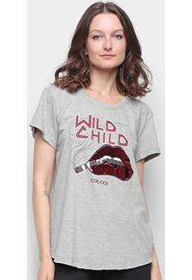Camiseta Colcci Wild Child Bordado Paetê Feminina - Feminino