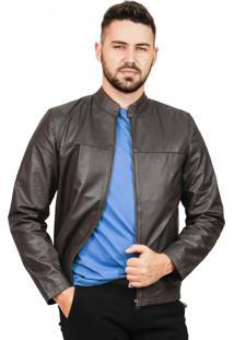 Jaqueta Slim Corazzi Leather Deluxe Gola Padre Couro Marrom