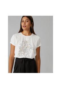 Amaro Feminino T-Shirt Regular Tropical Lines, Off-White