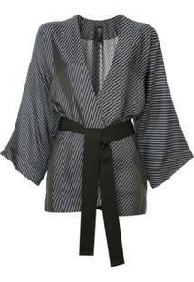 Zero + Maria Cornejo Blazer Estilo Kimono Com Listra - Preto