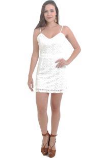 Vestido Anis Ateliê Rendado Com Tiras Nas Costas Offwhite