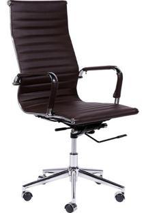 Cadeira Office Eames Esteirinha- Café & Prateada- 11Or Design