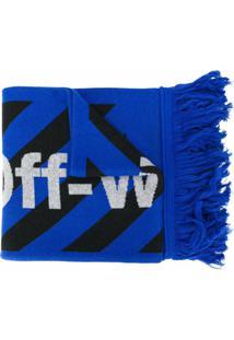 Off-White Cachecol Arrows De Tricô - Azul