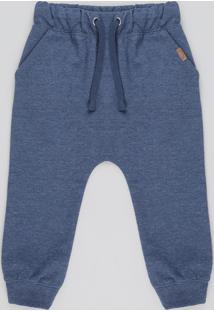 Calça Infantil Saruel Em Moletom Com Bolsos Azul Escuro