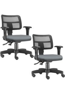 Kit 02 Cadeiras Giratórias Lyam Decor Zip Suede Cinza - Tricae