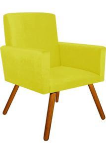 Poltrona Decorativa Nina Suede Amarelo Com Encosto Alto Drossi