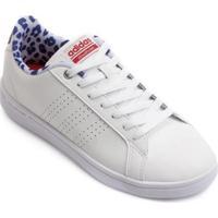 Tênis Couro Adidas Cf Advantage Clean Feminino - Feminino-Branco+Azul 02335e1c95fd1