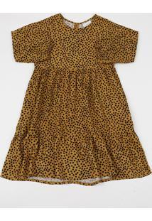 Vestido Infantil Estampado De Poá Manga Longa Amarelo