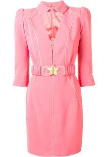 Elisabetta Franchi Vestido Com Cinto - Rosa