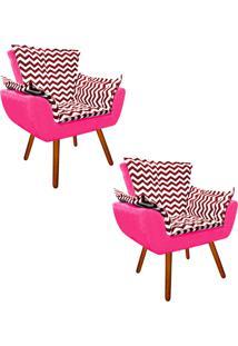 Kit 02 Poltrona Decorativa Opala Suede Composê Estampado Zig Zag Vermelho D79 E Suede Rosa Barbie - D'Rossi