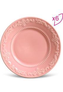 Jogo De Pratos Para Sobremesa Acanthus- Rosa- 6Pã§S