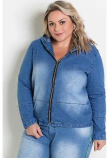 Jaqueta Jeans Com Zíper E Capuz Plus Size