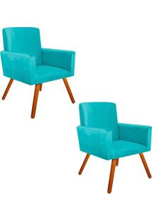 Kit 2 Poltronas Decorativas Nina Suede Azul Tiffany Com Encosto Alto Drossi