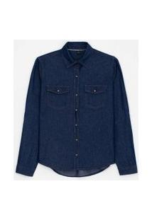 Camisa Jeans Manga Longa Lisa Com Botões De Pressão E Bolsos   Marfinno   Azul   P