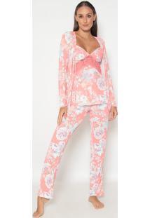 Conjunto De Pijama + Robe Com Renda- Coral & Branco-Fruit De La Passion