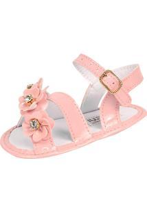Sandália Para Bebê Lugui Menina Com Tira Trançada Rosa.