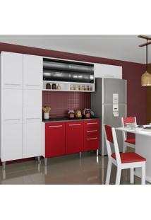 Cozinha Completa 12 Portas 2 Gavetas Amarilis Elis Glamy Vermelho - Pnr Móveis