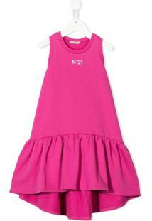 Nº21 Kids Vestido Com Estampa De Logo E Amarração - Rosa