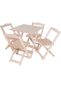 Conjunto Mesa Com 4 Cadeiras Dobrável Trevalla 70X70Cm Natural