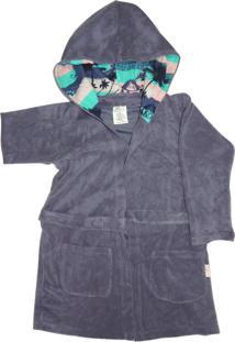 Roupão Com Capuz E Bolsos Colo De Mãe Praia Azul Marinho