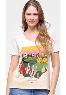 Camiseta Cantão Estampada Diamantina Feminina - Feminino-Off White