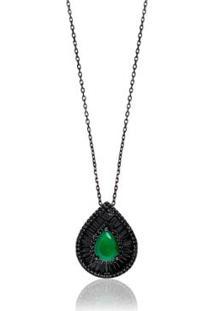 Colar Giullia Ferraz Store Gota Esmeralda Negro - Feminino-Verde