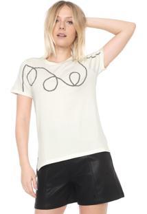 Camiseta Ana Hickmann Pedrarias Off-White
